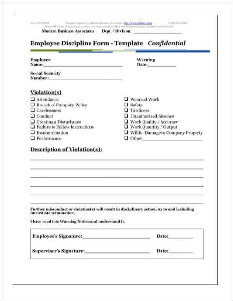 employee discipline form