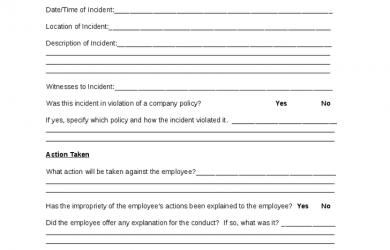 employee discipline form employee disciplinary action form