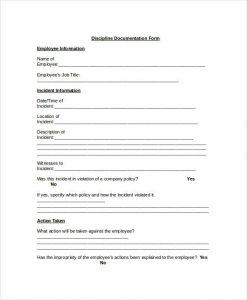 employee discipline form employee discipline documentation form