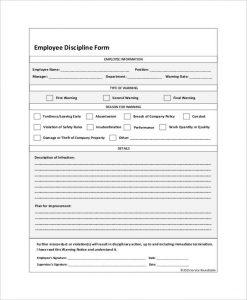 employee discipline form employee discipline form
