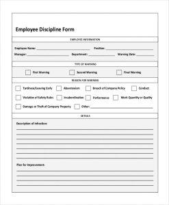 employee discipline form employee discipline form pdf