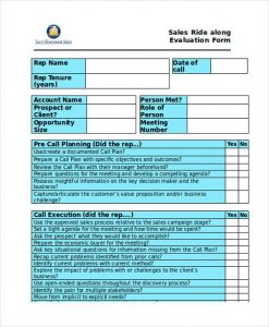 employee evaluation questions sales ride along evaluation form