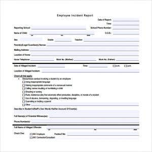 employee injury report employee incident report free download