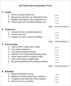 employee performance evaluation samples job performance evaluation sample form