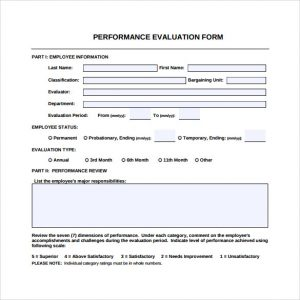 employee performance evaluation samples performance evaluation form pdf