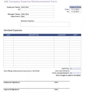 employee reimbursement form company reimbursement template
