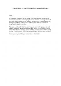 employee reimbursement form policy letter on vehicle expense reimbursement