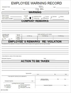 employee reprimand form employee warning record form template