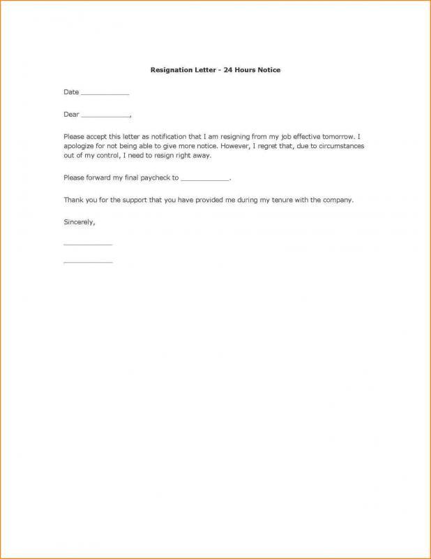 employee resign letter