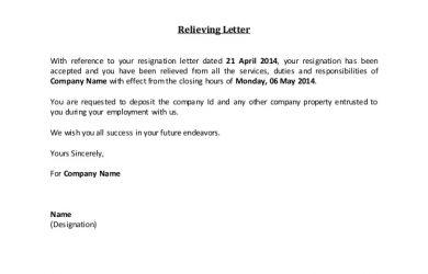 employee resignation letter relieving letter fill