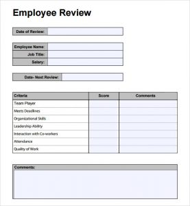 employee review template employee performance review template teopd