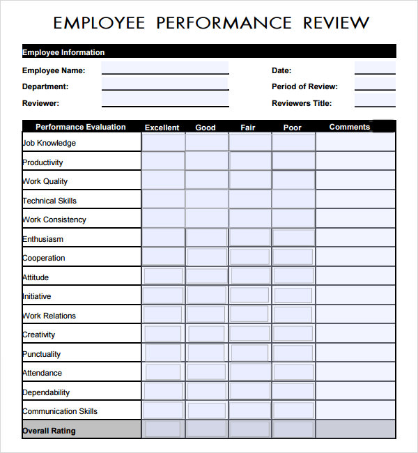 employee review template