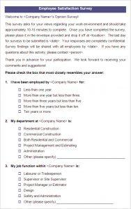 employee satisfaction survey employee satisfaction survey template example
