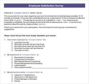 employee satisfaction survey employee satisfaction survey template word