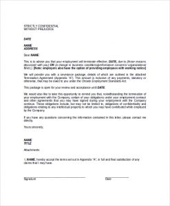 employee termination letter format of termination letter of employee