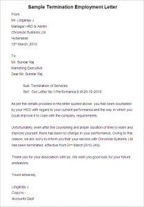 employee termination letter sample termination employment letter