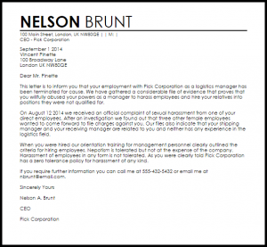 employee termination letter termination letter for cause
