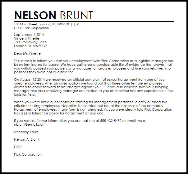 employee termination letter