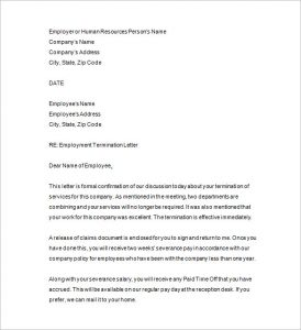 employee termination template employee termination letter pdf format