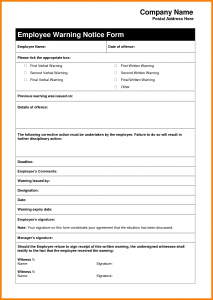 employee warning letter warning letter to employee sample