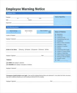 employee warning notice construction employee warning notice