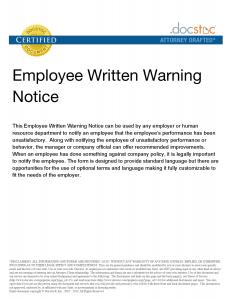 employee warning notice employee warning notice letter