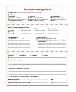 employee warning notice sample employee warning notice