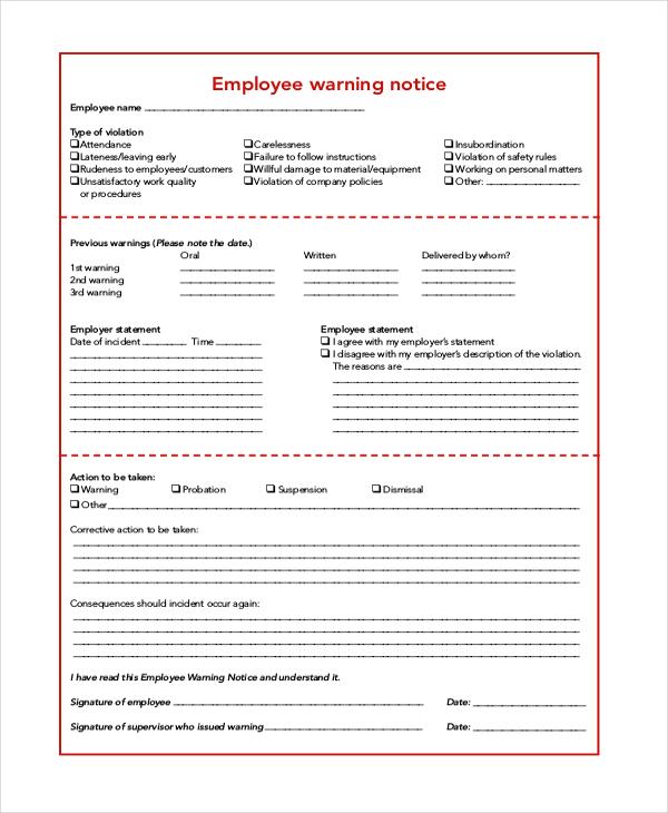 employee warning notice