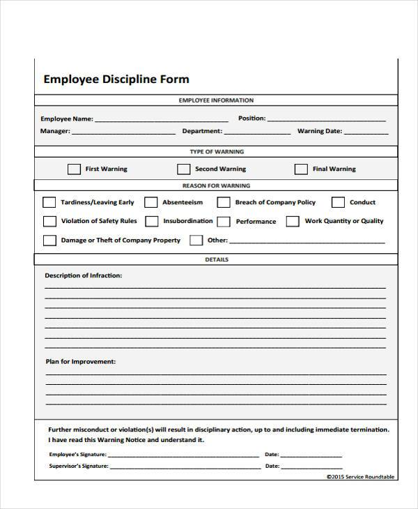 employee write up form free printable