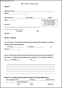employee write up form free printable sample written notice form