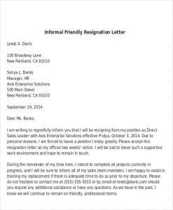 employee write up sample informal friendly resignation letter