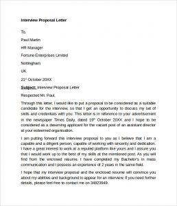 employee write up sample interview proposal letter