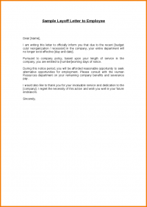employee write up template sample layoff letter sample layoff letter to employee