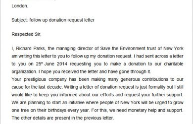 employee write up templates follow up donation request letter