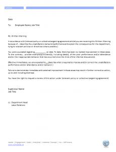 employee written warning employee written warning letter