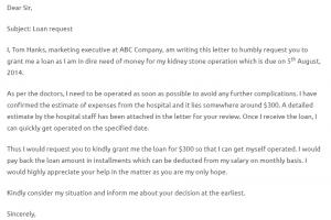 employee written warning form loan request letter