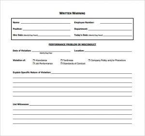 employee written warning template written warning sample