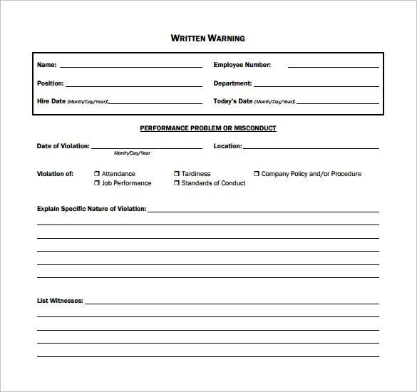 employee written warning template