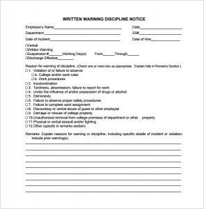 employee written warning written warning discipline notice