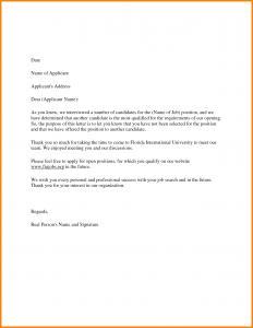 employment acceptance letter job rejection letter sample to applicant