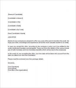 employment acceptance letter offer letter sample template sbjdyki
