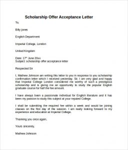 employment acceptance letter scholarship offer acceptance letter
