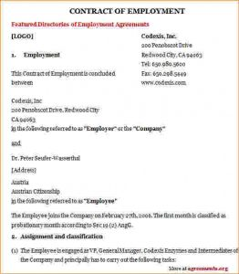 employment agreement samples employee contract sample employment contract agreement