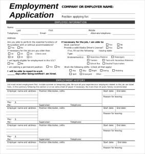 employment application form free download employement application form template