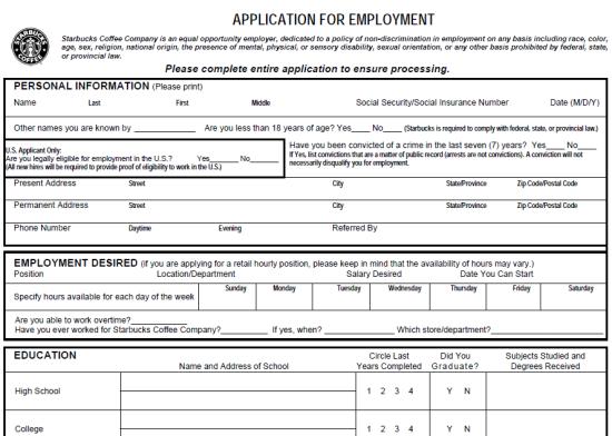 employment application form pdf