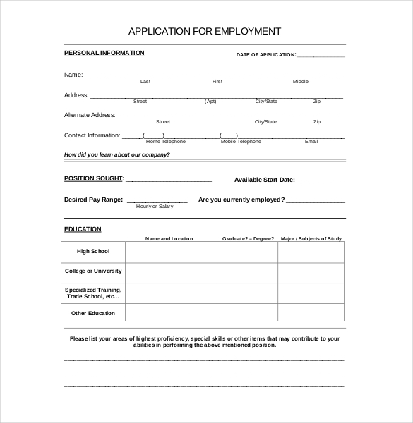 Job Application Form Word Doc on free fillable, red robin, dollar general, blank generic, sonic printable, format for, printable practice, part time, free sample, home depot, big lots printable,