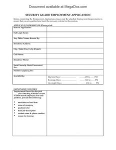 employment application template word preview