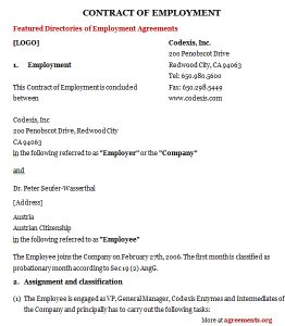 employment contract sample employment contract agreement