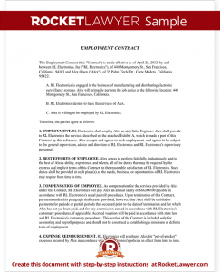 employment contract sample sample employment contract form template