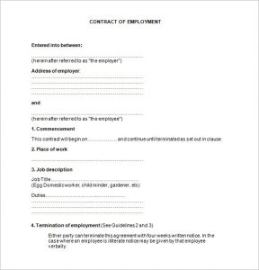employment contract template sample job contract template free download